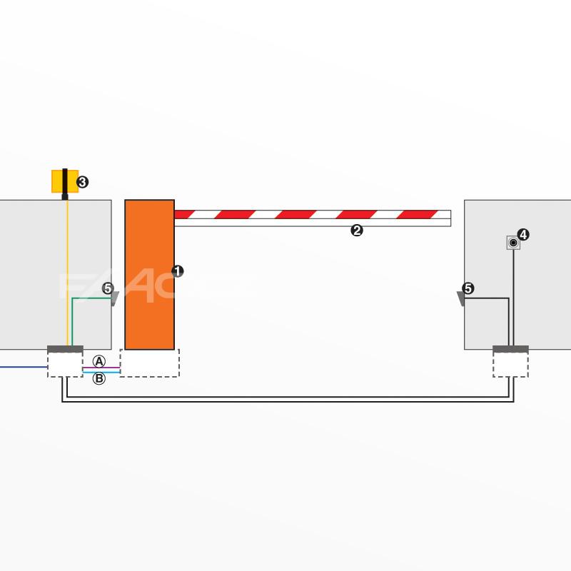 Typické zapojení závory FAAC 620 STANDARD (1046268)